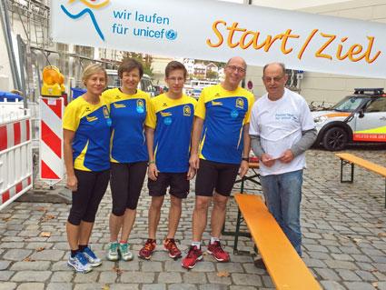 (v.li.) Renate Baumgartner, Irene Kühnhammer, Markus Weinert, Torsten Weinert, Lauforganisator Jürgen Karl.